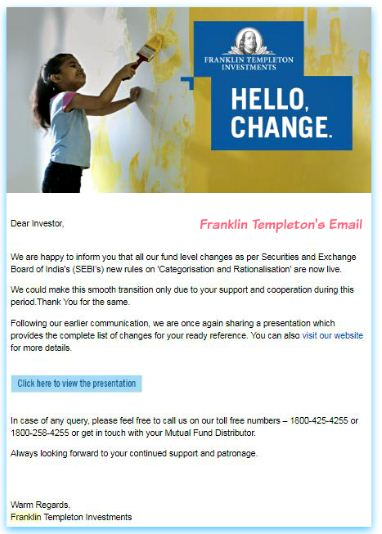 Email informing mutual fund scheme changes Franklin Templeton india pic
