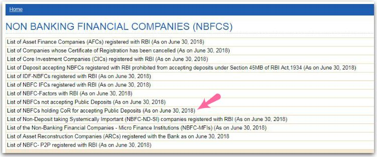 List of NBFCs accepting Public Deposits 2018 - 2019 pic