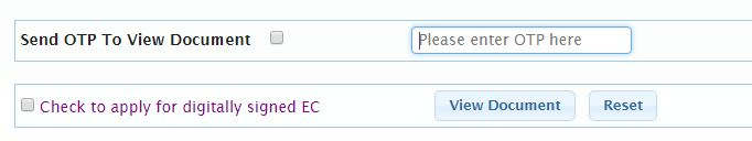 OTP to download view EC certificate online