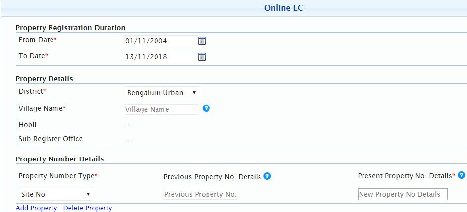Property Details to get EC online digitally signed copy of Encumbrance certificate Karnataka Bengaluru bangalore