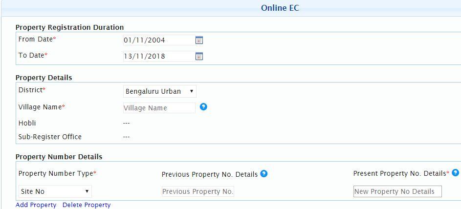Property Details to get EC online digitally signed copy of Encumbrance certificate Karnataka Bengaluru bangalore