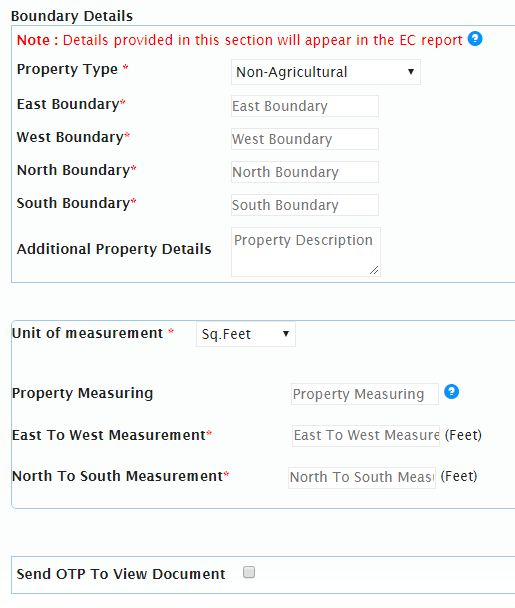 Property details to download EC online