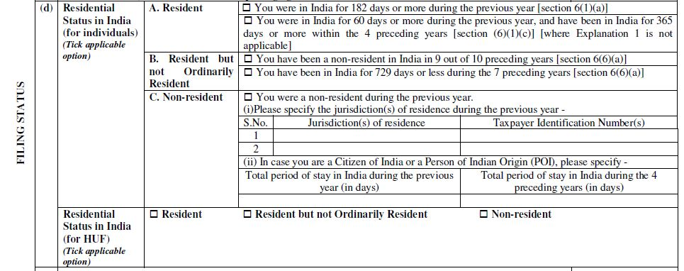 Residential Status reporting in ITR Form 2 ITR Form 3 AY 2019-20