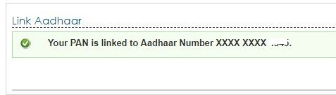 Aadhaar PAN linking status in income tax efiling portal