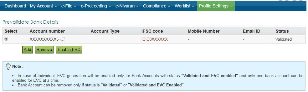 Pre-validation status of linked Bank Account in E-filing portal