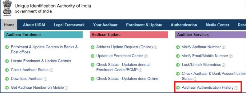 Check Aadhaar card number authentication history online UIDAI