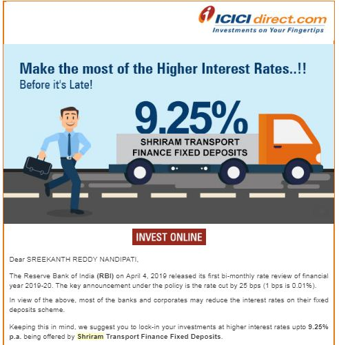 Company Fixed Deposit schemes promotional emails ads icicidirect