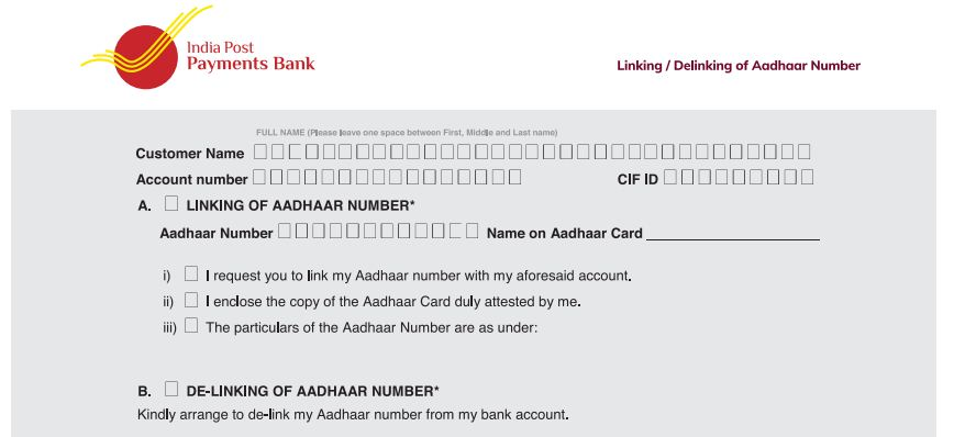 Download Aadhaar card number delinking form from Post office Payments Bank Account