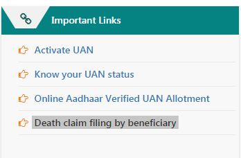 EPF death claim by beneficiary online procedure