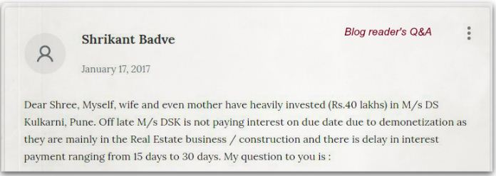 Relakhs blog readers comment on company fixed deposit default pic