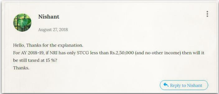 Relakhs blog reader's query on adjustment of Short Term Capital Gains against income tax basic exemption limit tax implications pic