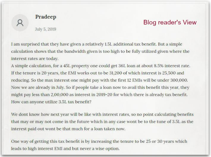 Blog reader's view on utility of new Section 80EEA & Rs 1.5 lakh additional Home Loan Tax Deduction
