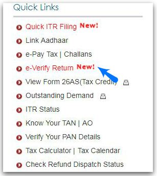e-Verify ITR Income Tax Return Quick links pic