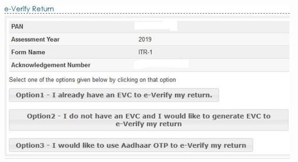 options to e verify ITR Aadhaar OTP Prevalidated bank account EVC Code