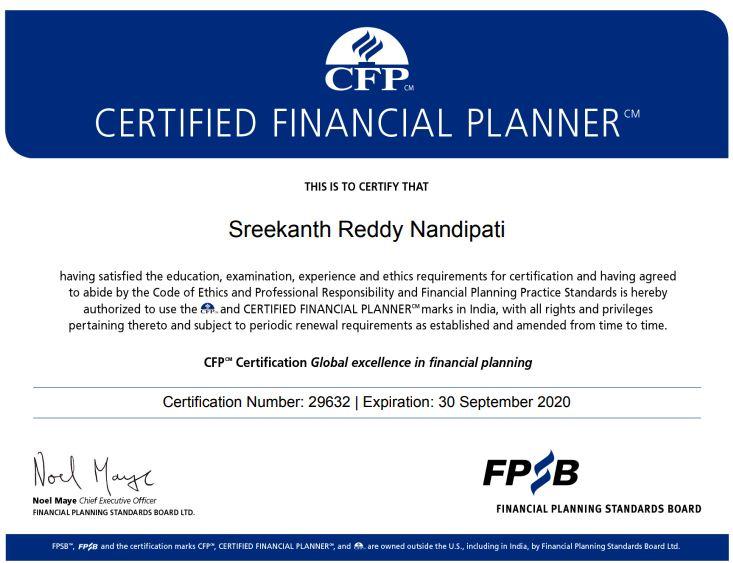 FPSB Certification CFP 2019-20
