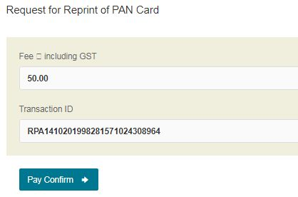 Charges for request of reprint of pan card