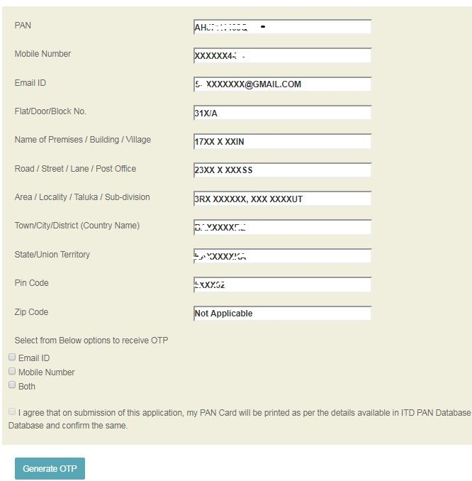 Duplicate PAN Card request procedure - check details - generate otp