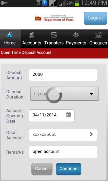 Open time deposit account in post office using mobile banking app how to make PPF Deposits online