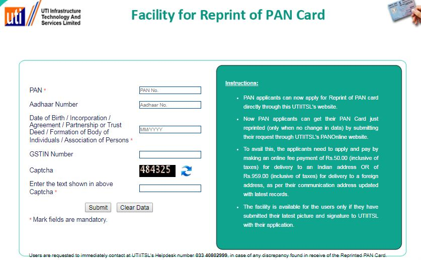UTIITSL online facility for pan card reprint