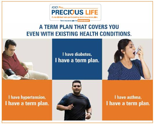 ICICI Prudential Precious Life new Term insurance plan for individuals with diabetes hyper tension asthma