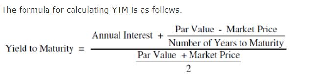 Formula to calculate Bond Yield to Maturity YTM