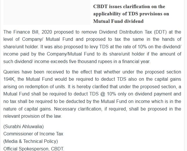 CBDT clarification Whether TDS @ 10% is applicable on Mutual Fund Capital Gains Section 194k