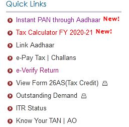 Instant PAN through aaddhaar number option efiliing portal