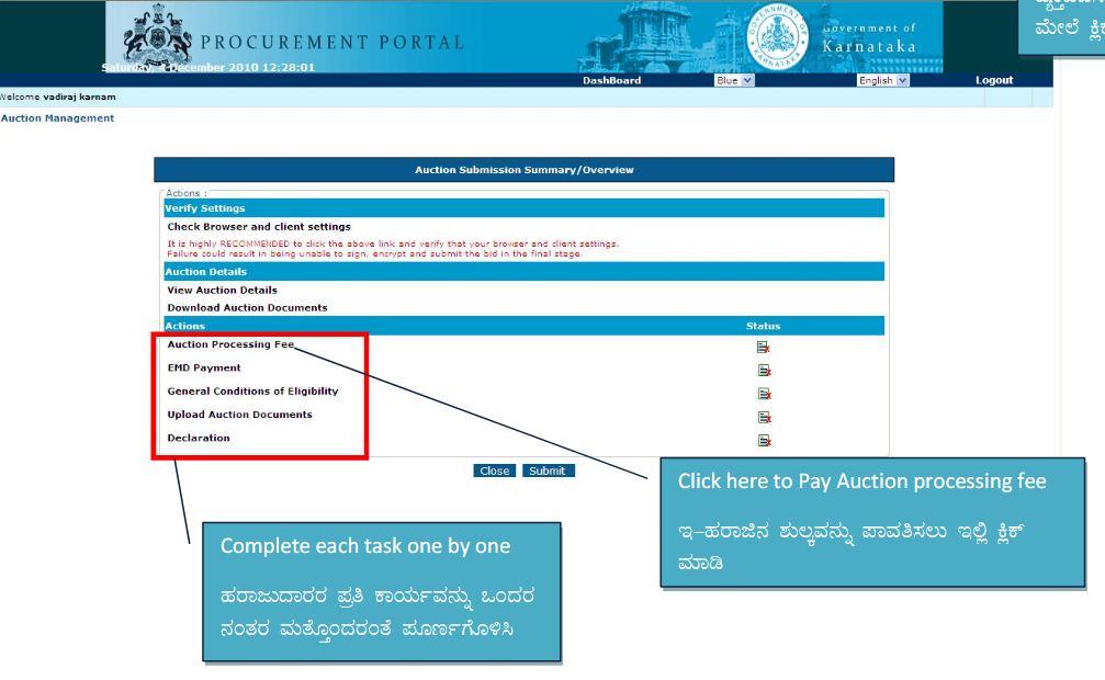 Online provision to pay BDA E Auction processing fee Earnest Money Deposit amount e Procurement portal