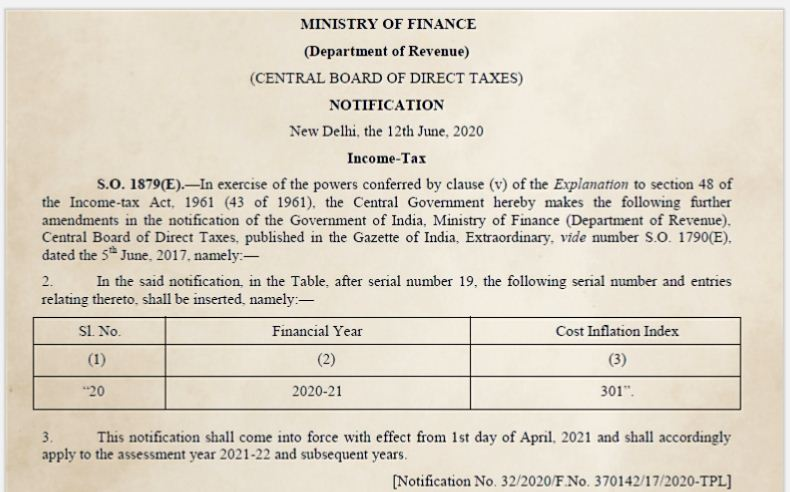 CII Index value 301 Cost Inflation index FY 2020-21 AY 2021-22 Notification pic