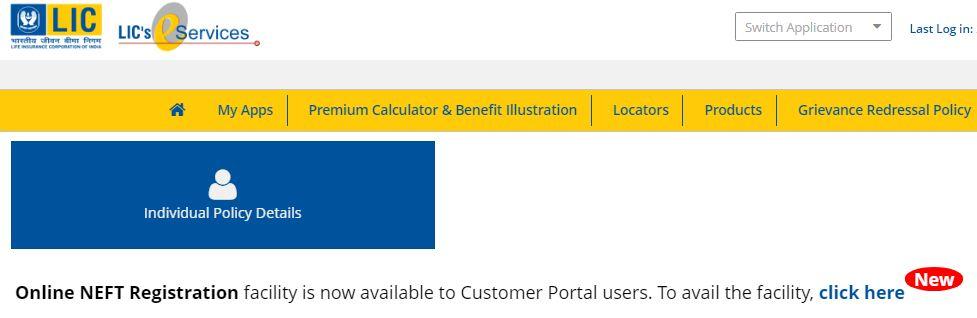 LIC NEFT Mandate portal de procedimento de registro on-line