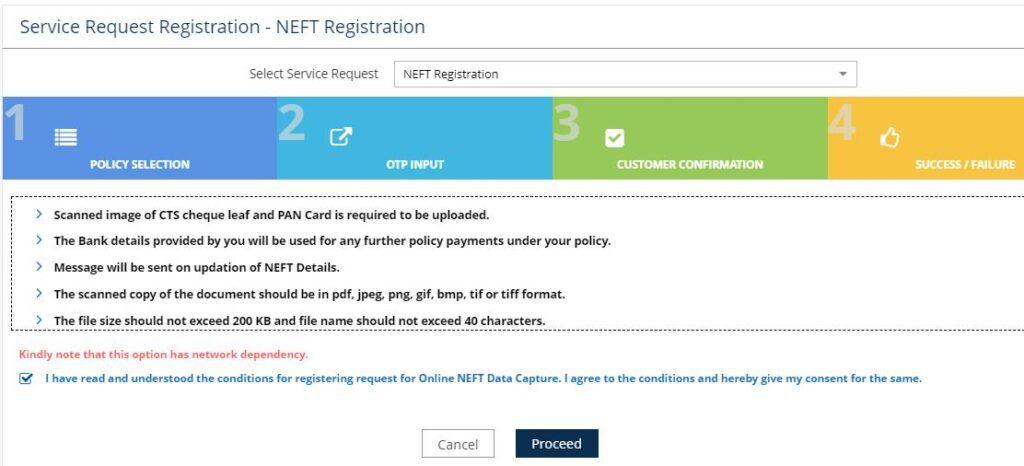 Registro do formulário LIC NEFT Mandatoe