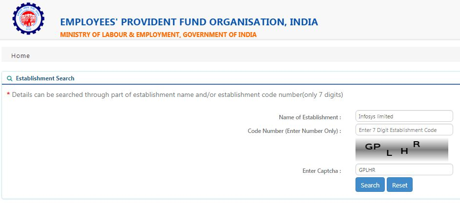EPFO EPF Establishment search