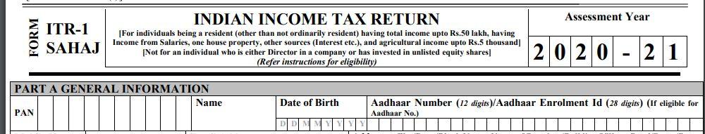 Notified ITR 1 Form AY 2020-21 PAN Aadhaar interchangeability