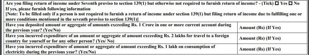 Seventh proviso to section 139 (1) Rs 1 cr current account deposit