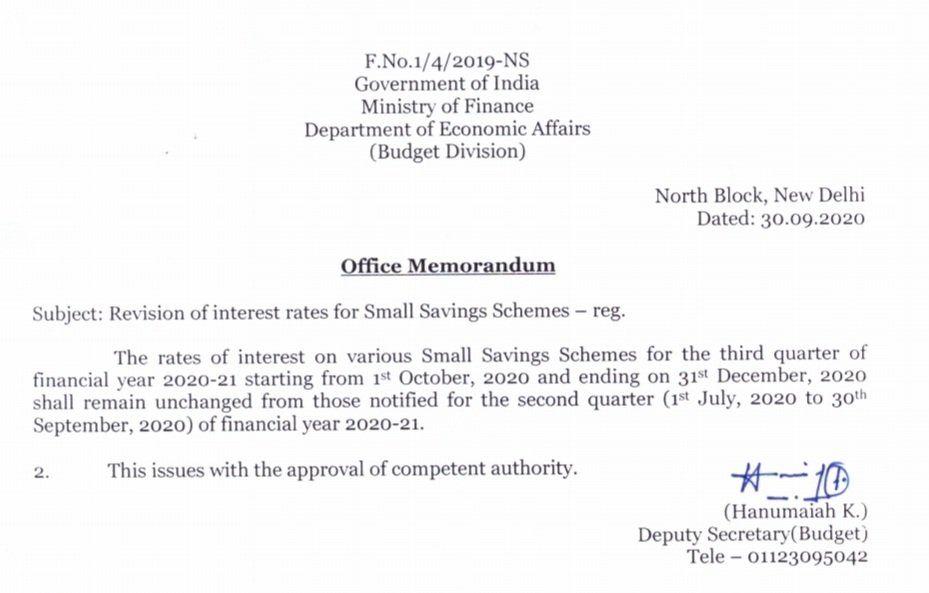 Notificação circular do Ministério das Finanças sobre os últimos esquemas de correios taxas de juros de outubro a dezembro de 2020