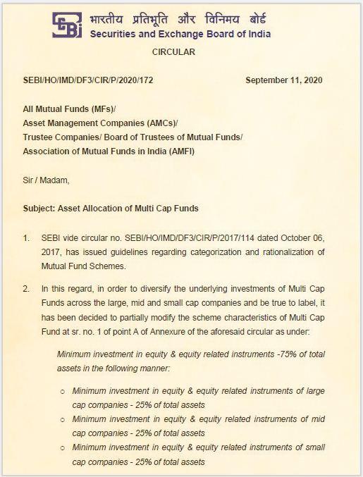Circular SEBI - Regras de alocação de ativos de fundos mútuos de múltiplas capitalizações (NOVAS) pic