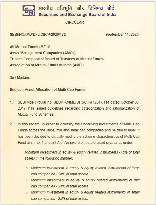 SEBI Circular - Multi-cap Mutual Funds Asset Allocation (NEW) Rules 2020 pic