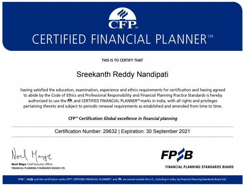Sreekanth Reddy Relakhs CFP Certification