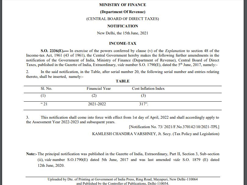 CII Index value 317 Cost Inflation index FY 2021-22 AY 2022-23 Notification